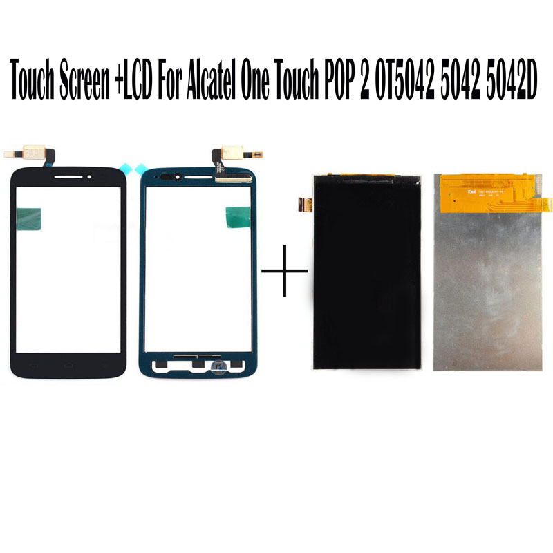 New Black White Touch Screen 4.5'' For Alcatel One Touch POP 2 OT5042 5042 5042D Touch Panel Glass Sensor+ Digitizer LCD Screen alcatel ot 4035d pop d3 dual black fashion blue