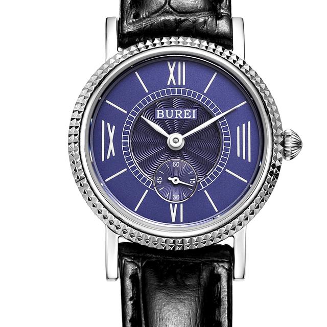 Burei amantes casal relógios das mulheres dos homens clássico relógio de quartzo safira 3atm mostrador de relógio de couro à prova d' água pequena fêmea reloj mujer