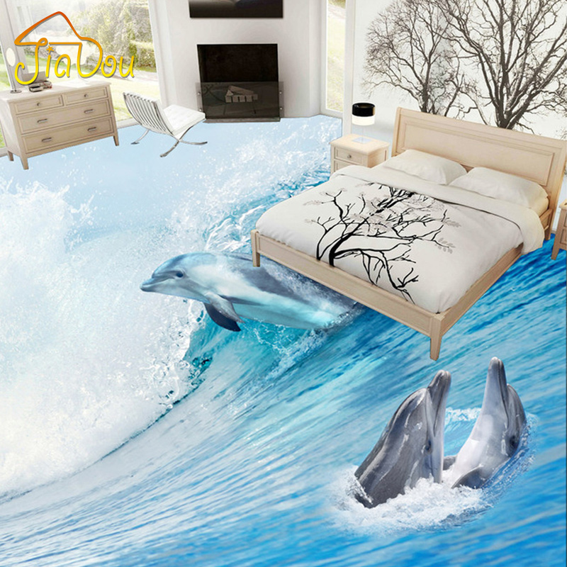 Custom Photo Floor Wallpaper 3d Stereo Dolphin Marine