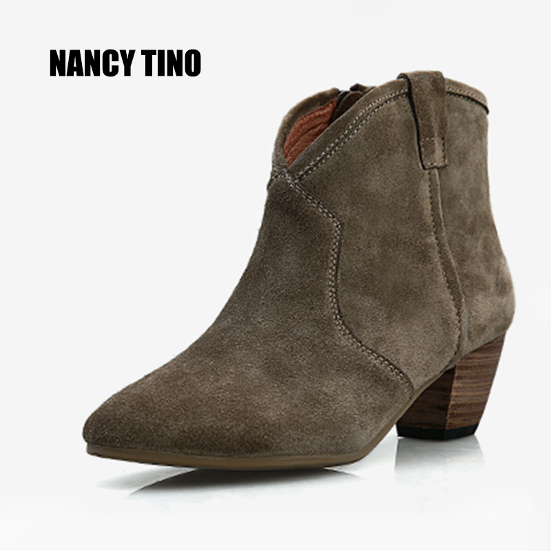 NANCY TINO 2017 New Hot Woman Fashion Genuine Nubuck leather Non-slip Sole Crude Heel Martin Solid Color Women Ankle Short Boots tino sehgal