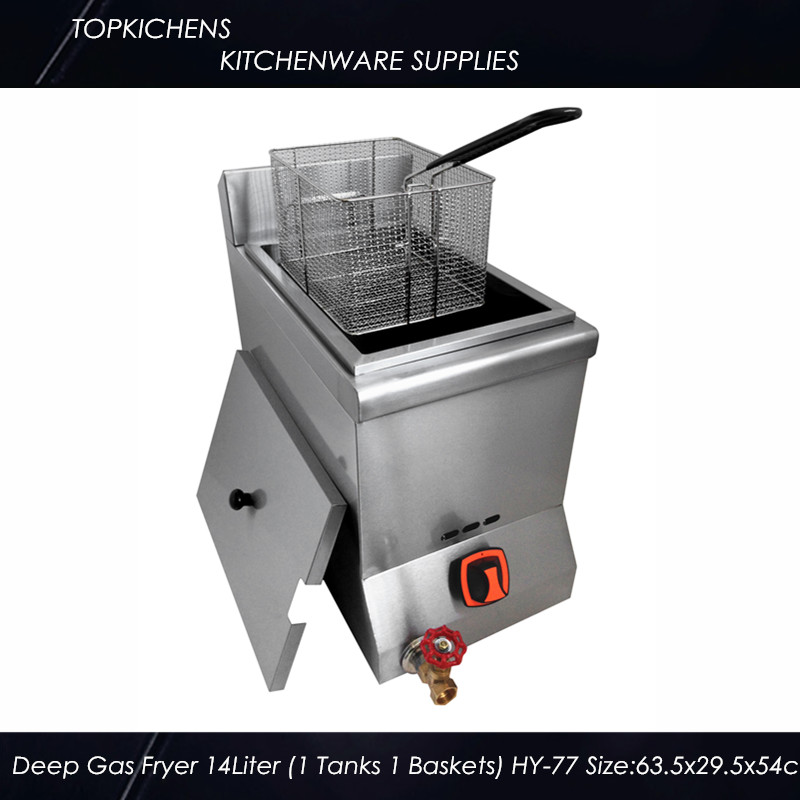Commerical Deep Gas fryer(1 tank 1 basket)14L HY-77 1pc gas type stainless steel food fryer french fries fryer potato deep fryer deep fat gas fryer