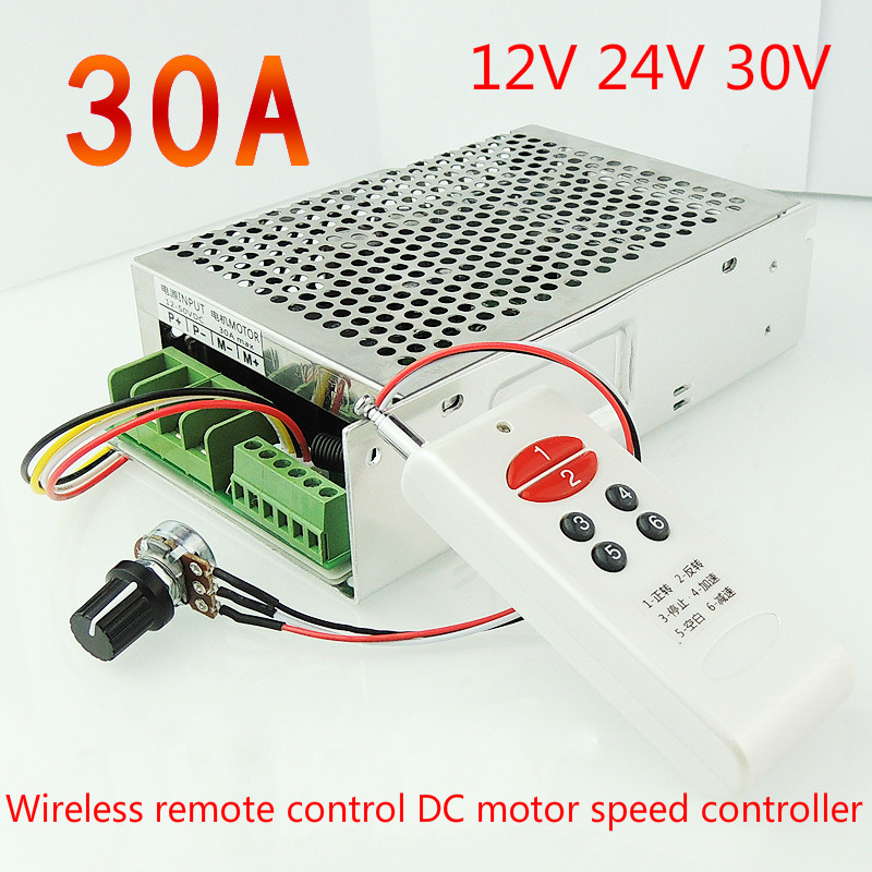 Free Shipping!! Wireless remote control DC motor speed governor DC motor 30A 12V24V30V positive inversion control limit digital dc motor pwm speed control switch governor 12 24v 5a high efficiency