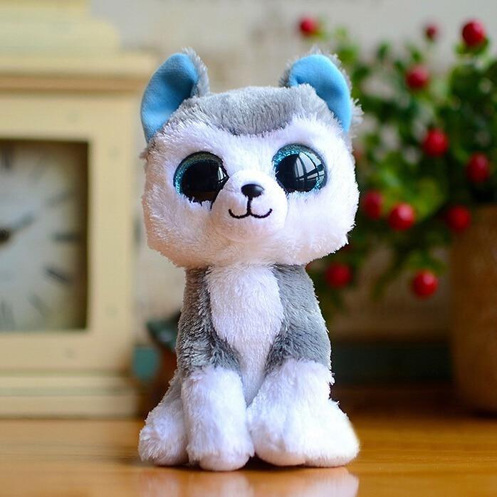 1pc18cm hot sale ty beanie boos big eyes husky dog plush toy doll stuffed animal cute plush toy. Black Bedroom Furniture Sets. Home Design Ideas