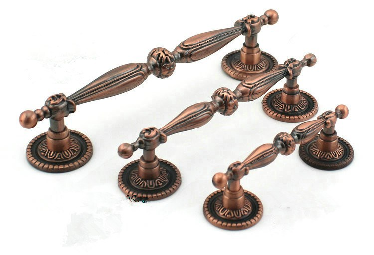 image - 2pcs 128mm Red Bronze Decorative Knobs Antique Kitchen Armoire