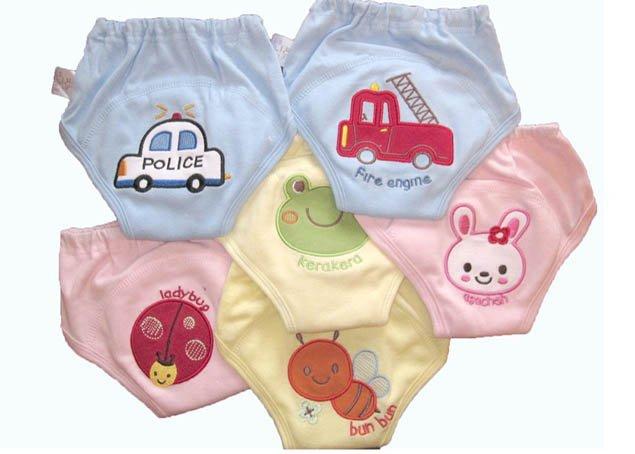 24 шт/лот-вышивка 4 слоя Детские тренировочные штаны/Детские Водонепроницаемые хлопковые тренировочные трусики/тренировочные штаны в стиле животных