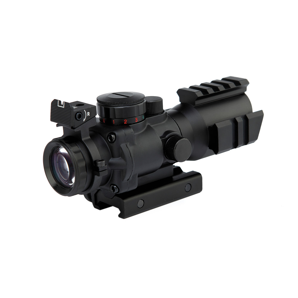 4X32 Tactical Rifle Scope With Tri-Illuminated Reticle Optic Sight  Airsoft Hunting Firearm Weapon Gun Shooting Riflescope tactical 4x32 rifle scope w tri illuminated chevron reticle fiber optic sight scope rifle airsoft gun hunting airsoft