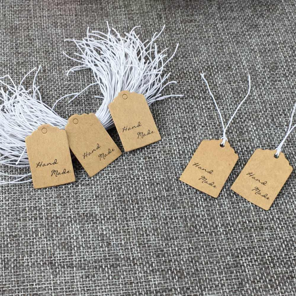 NEW tiny red foil strung name tags miniature tag packaging jewelry price tags string labels paper craft mini gift wrap jewelry supply 12