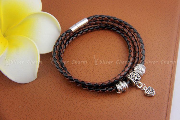 Newest Arrival Silver Charm Black Leather Bracelet for Women Five Colors Magnet Clasp Christmas Gift Jewelry PI0311 UT81qmAXaVaXXagOFbXc