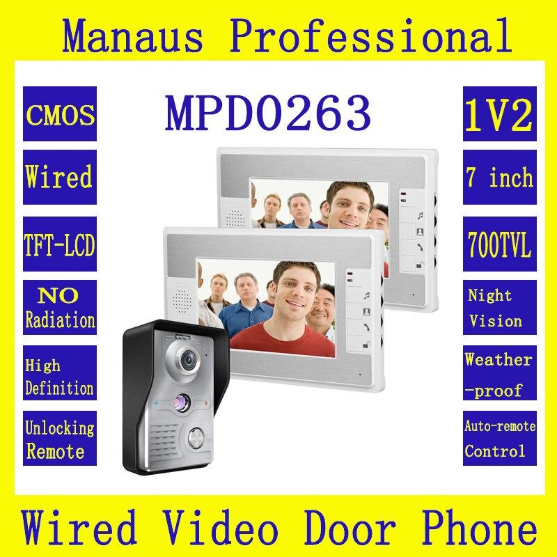7 inch Color Display Video Door Phone 1V2 Doorbell Intercom Kit 1-camera 2-monitors Night Vision Profession Video Intercom D263b