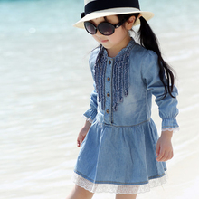 Jeans Cloth Kids Girls Toddlers Fashion Buttons Demin Baby Tops Shirts Dresses Sz 2-7Y
