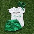 2016 ropa de las muchachas verde sirena boutique sets cortos nueva llegada embroma la ropa de Verano ropa de las niñas con diadema set