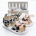 Baby Girl Обувь Летняя Мода Алмазная Бантом Леопардовый Кожа Малыша Младенца Девушки Сандалии Sandalia Infantil Menina 2016