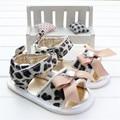 Sapatos de bebê Menina Moda Verão Bowknot Diamante de Couro da Cópia do Leopardo Da Criança Infantil Meninas Sandálias Sandalia Infantil Menina 2016