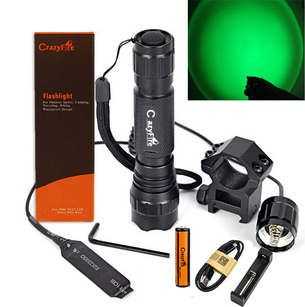 300LM CREE R5 Green Light LED Tactical Flashlight 1-Mode Shotgun Rifle Hunting Torch +Rail Mount & Pressure Switch &Battery колонка interstep sbs 150 funny bunny light green
