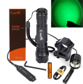 300LM CREE R5 Green Light LED Tactical Flashlight 1-Mode Shotgun Rifle Hunting Torch +Rail Mount & Pressure Switch &Battery