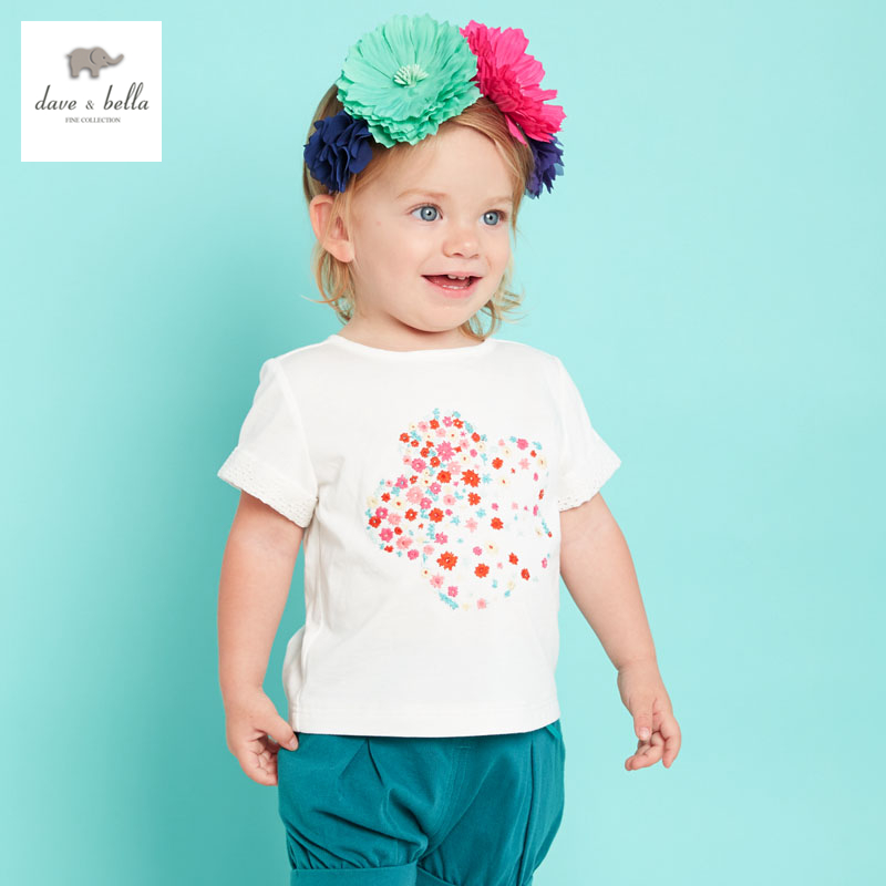 DB3177 dave bella summer baby girls flower embroidery t-shirt girls cotton tee baby tops infant clothes toddle t shirt symmetric flower embroidery t shirt