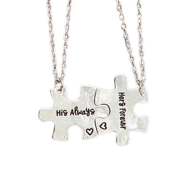 Puzzle Design His and Hers Forever Pendants