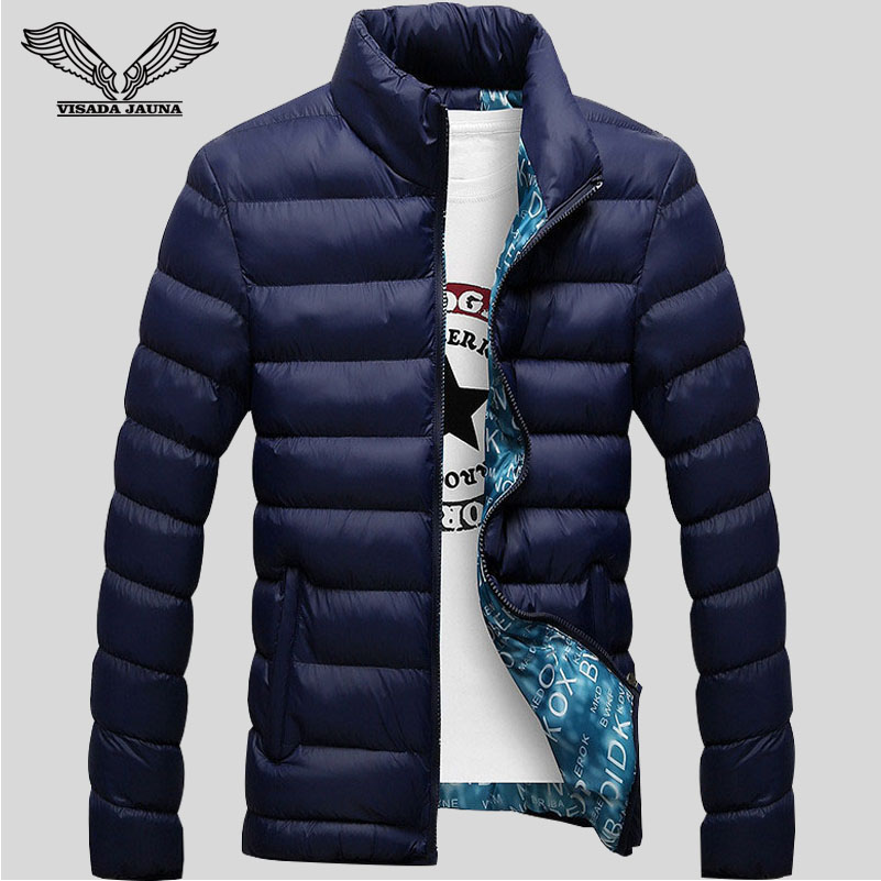 Winter Jackets Mens 2016 New Stylish Slim Fitness Quilted Long Sleeve Cotton Padded Solid Thick Parkas