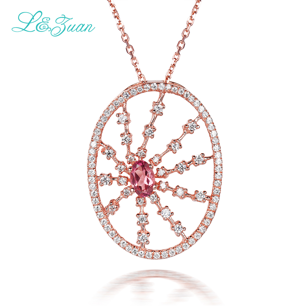 l&zuan Rose Gold 925 Sterling Silver Natural 0.42ct Tourmaline Red Stone Pendant Necklace For Women Fine Jewelry Accessories