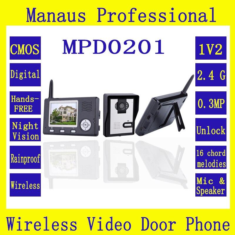 Wireless Video Intercom System Color Video Door Phone Two 3.5 Inch Display Screens+One Outdoor Waterproof Security Camera D201b