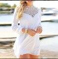 2016 Европейский и Американский Стиль Мини Шифоновое Платье Женщины Выкл Белое Кружево Платья Лоскутная С Длинным Рукавом Vestidos Robe Femme