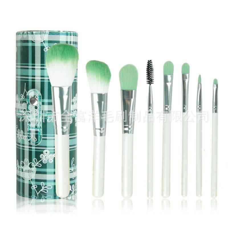 ISMINE 8 Pcs/set Pro <font><b>Makeup</b></font> Brush Set <font><b>Green</b></font> Hair White handle Make up Cosmetic Tool with <font><b>Green</b></font> Leather <font><b>Cup</b></font> Holder Kits