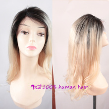 fashion Brazilian Virgin Full lace human hair wigs Ombre Blonde Glueless Full lace wigs Free Shipping