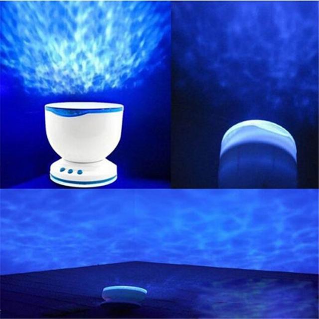 Luz CONDUZIDA Da Noite Lâmpada de Projeção Projetor Ondas Do Mar Do Oceano Azul Com Mini Speaker