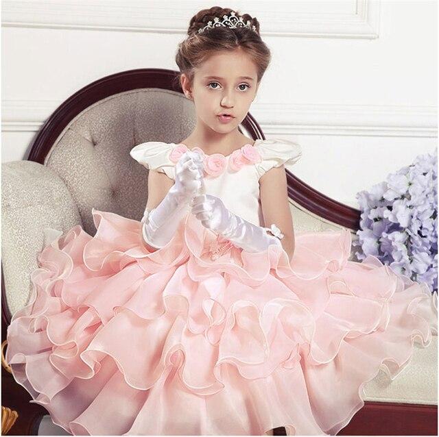 Свадебное Платье Девушки Принцесса для Детей Наряды Детские Pageant Платья Малыша Вечерние Платья Розовый Junior Невесты Платье Костюм