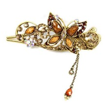 retro vintage butterfly hair barrettes claws hairpins duck clips rhinestones metal crystal accessories jewelry wedding