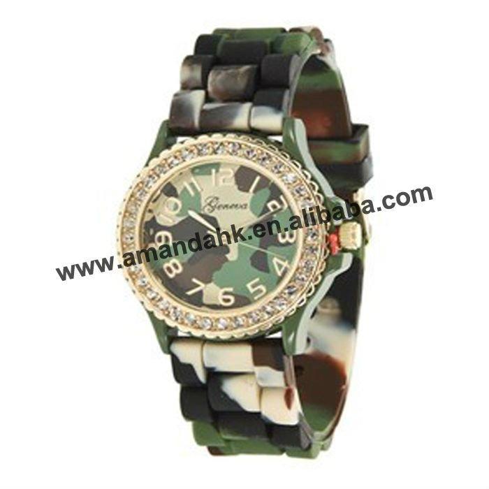 105 шт/партия,, военные часы с ремешком милитари, камуфляжный, силиконовый