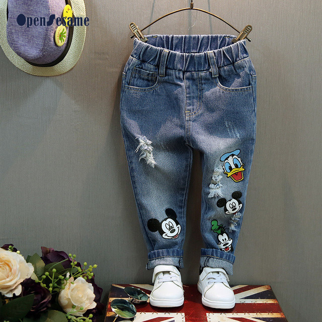 New 2016 Size 2-7 Kids jeans Cartoon Mouse jeans boys Fashion girls jeans elastic waist boy pants boys ripped jeans.