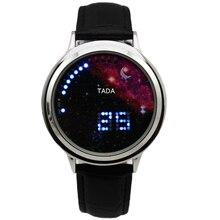 ТАДА БРЕНД Творческий мужские часы led наручные часы луна звезда дизайн Кожаный ремешок Мужчины военные наручные часы с сенсорным светодиодные Часы