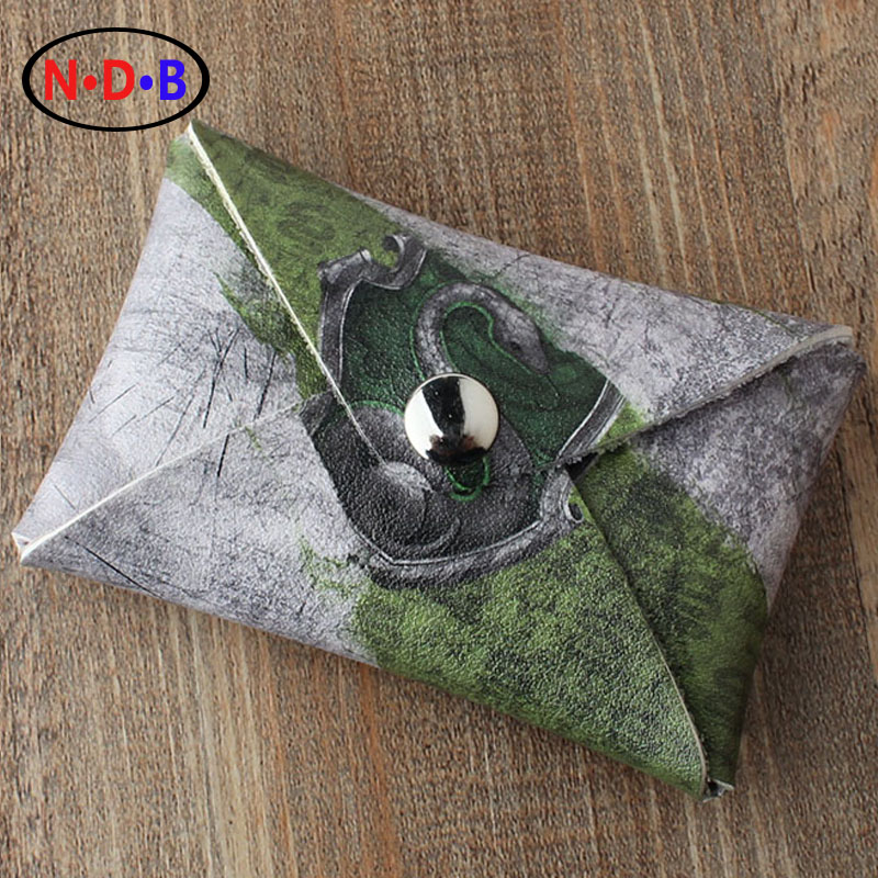(Coin Purses) Potter Harry Slytherin College coin purse Short card printing package Zero wallet male and female students tide