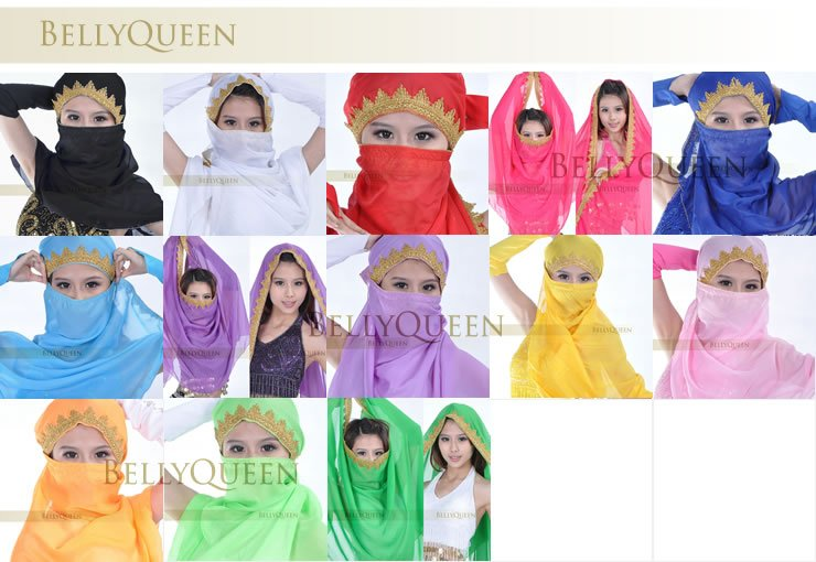 New Fashion Indian Style Belly Dance Head Veil Belly Dance Face Veil