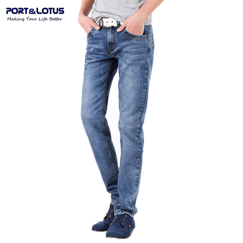 Port Lotus Fashion Casual Jeans New Arrival With Zipper Fly Solid Color Midweight Straight Pants Slim