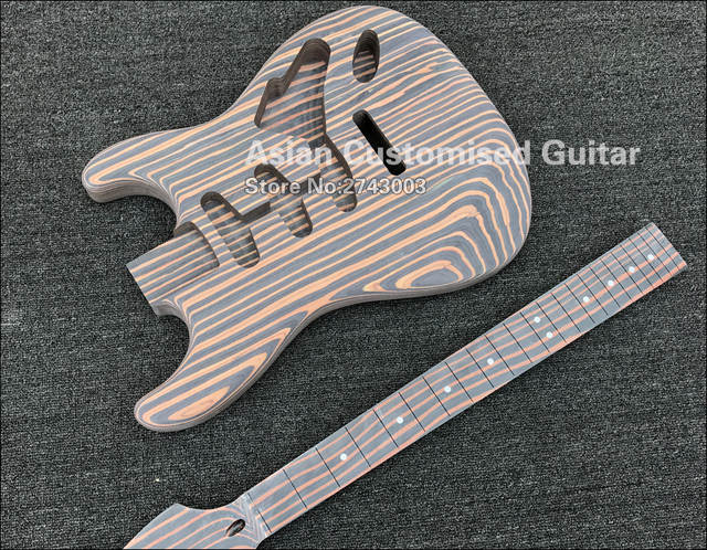 Zebrawood Electric Guitar Kit Unfinished Guitar Zebrawood Body Neck No Finish Painting Diy Guitar Without Guitar Parts
