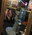 2016 De Luxo à noite vestido de contas totalmente bling evening vestidos sereia de manga longa vestidos de mulheres vestidos