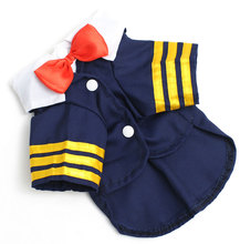 2017 Doggy/Cat Clothes for Female Male Navy Suit Captain Uniform Bow Tie Dog Costume Shirts Summer T-shirt Pet clothing