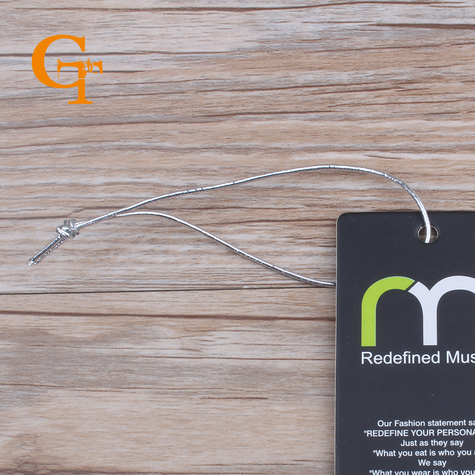 silver elastic hang tag string,garment hang tag sling, elastic rope for hair extention ,240 yards/lot