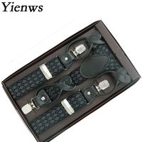 Yienws Fashion Adult 6 Clasp Buckle Braces Suspensorio Men Brand Leather Rhombus Jartiyer Y Back Tirantes