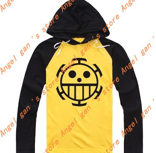 1d798ca2b Free shipping ONE PIECE Trafalgar Law Yellow-BLACK Long sleeve T-shirt  sweater cosplay