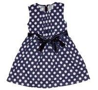 девочки платья лето синий и белый 3 ~ 11age дети одежда