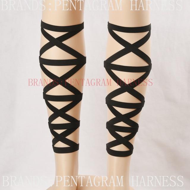 Hand Made Sexy Goth Garters Bondage Cage Harness Black Elastic Leg Garters Retro Goth Harajuku Garter Fetish Lingerie Rave Wear