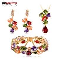 LZESHINE Luxury Pendant Earrings Bracelet Jewelry Set Gold Plated With Colorful Zirconia Classic Bridal Jewelry Set