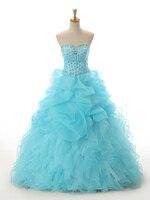 Новый реальные фотографии голубой органзы недорогое бальное платье Quinceanera платье платья Vestidos De айва Anos платье принцессы для выпускного 2019