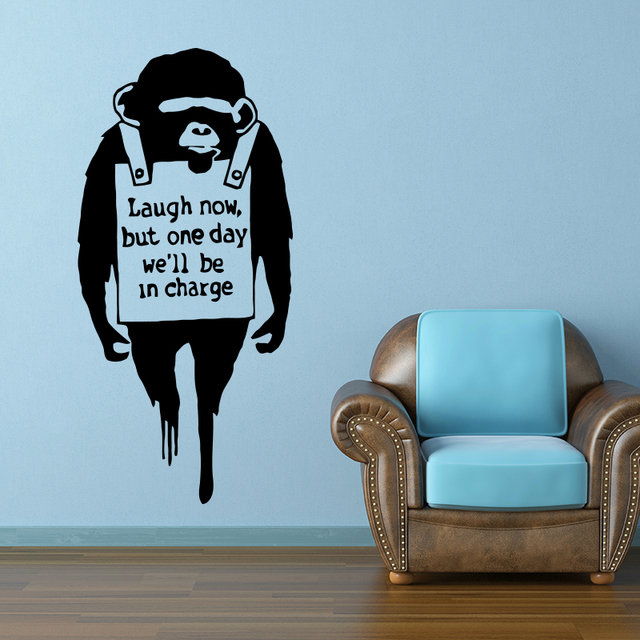 Banksy Monkey With Quote Laugh Now Wall Sticker Home Decor Chimp Text Street Graffiti Art