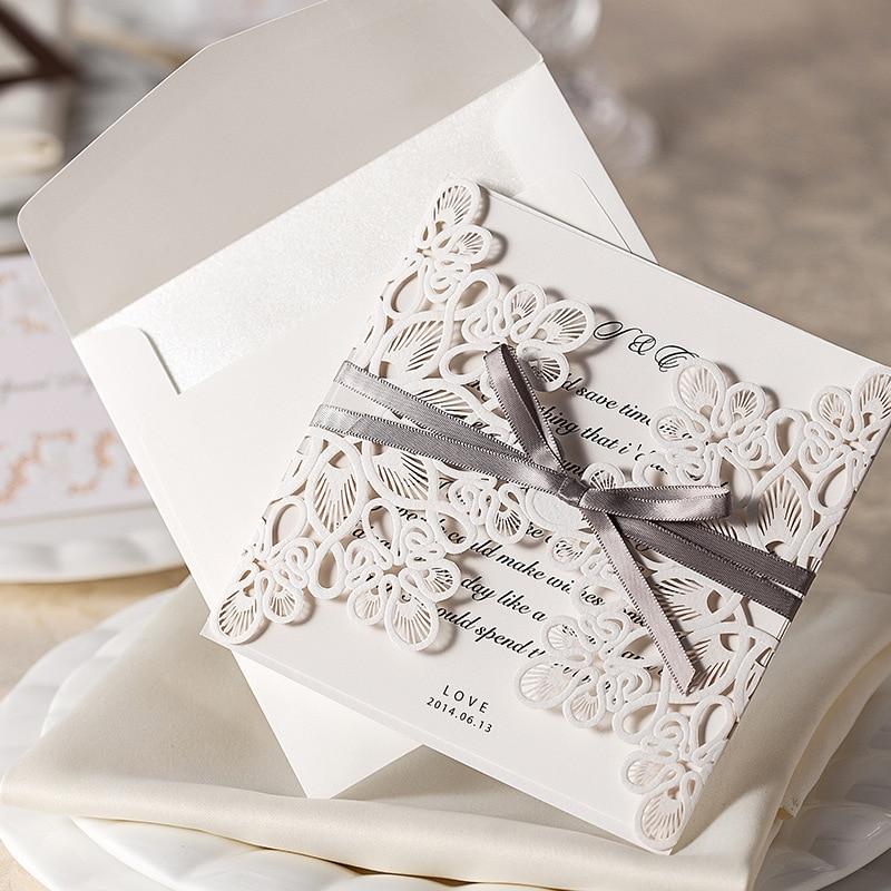 10pcs/set White Laser Cut Vintage Wedding Invitation Cards Elegant ...