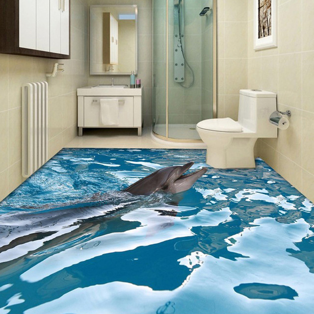 Custom 3d floor wallpaper ocean dolphin bathroom floor for Bathroom floor mural