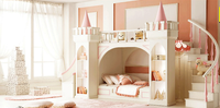 princess castle Bunk beds / Twin beds children's furniture for girls with ladder, book cabinet and slides from China market
